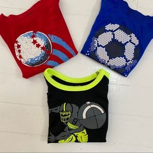 THREE soft polyester sports tops
